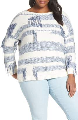 Vince Camuto Fringe Detail Stripe Cotton Blend Sweater