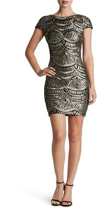 Dress the Population Tabitha Sequined Scoop Back Cap Sleeve Dress