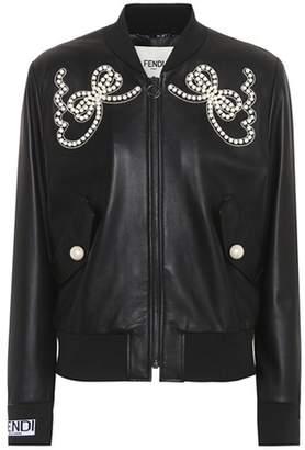 Fendi Embellished leather bomber jacket