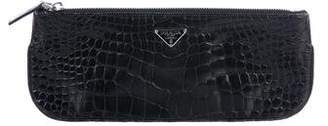 Prada Long Crocodile Clutch