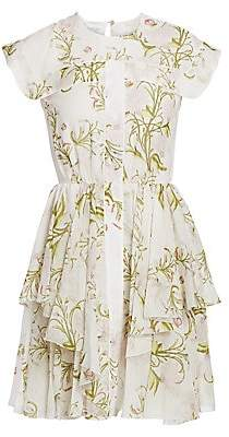 Giambattista Valli Women's Cap-Sleeve Silk Ruffle Dress