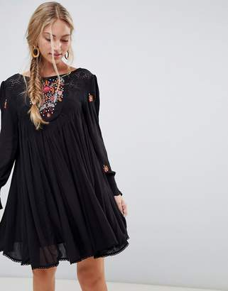 Free People Mohave embroidered smock dress