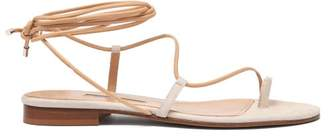Emme Parsons Susan Wrap Around Leather And Suede Sandals - Womens - Beige