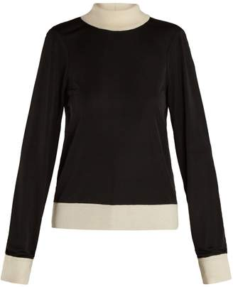 Joseph Roll-neck knit-trimmed jersey sweater