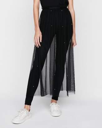 Express High Waisted Sheer Tulle Midi Skirt