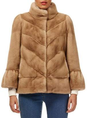 Gorski 3/4 Bell-Sleeve Chevron Mink-Fur Jacket