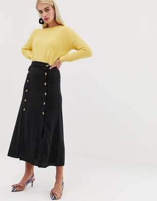Vero Moda double split button front midaxi skirt in black