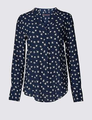 Marks and Spencer Notch Neck Long Sleeve Blouse