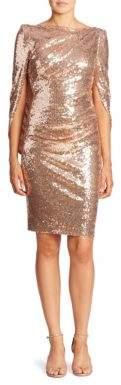 Talbot Runhof Metallic Sequin Cape Dress