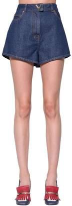 Valentino High Waist Cotton Denim Shorts