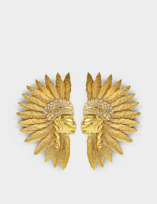 Versace Tribute Buffalo Bill Earrings in Gold Brass