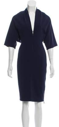 Lanvin Short Sleeve Knee-Length Dress Navy Short Sleeve Knee-Length Dress