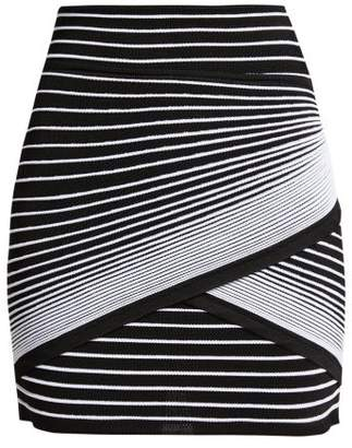 Balmain Wrap Style Striped Knit Mini Skirt - Womens - Black White