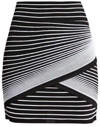 Balmain - Wrap Style Striped Knit Mini Skirt - Womens - Black White