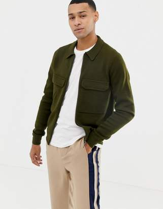 Ted Baker zip through merino blend cardigan with patch pockets