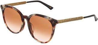 Gucci Round Acetate/Metal Tiger Sunglasses