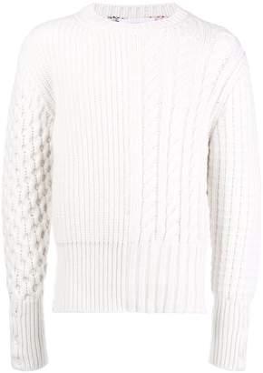 Thom Browne Chunky Cable Classic Crewneck Pullover W/ Rwb Intarsia Stripe In Fine Merino Wool