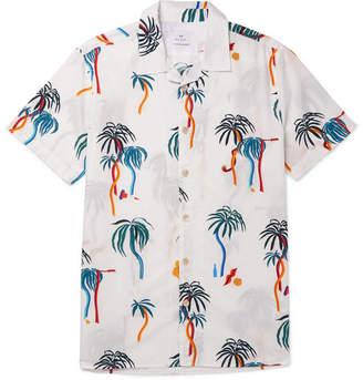 Paul Smith Camp-Collar Printed Cotton-Poplin Shirt - Men - White
