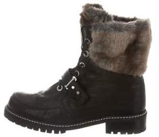 Stuart Weitzman Fur-Trimmed Leather Boots
