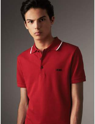 Burberry Tipped Collar Cotton Piqué Polo Shirt