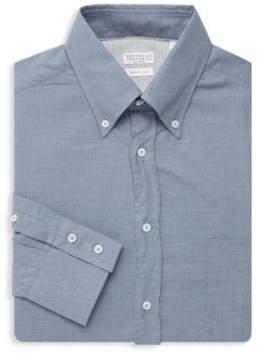 Brunello Cucinelli Herringbone Cotton Dress Shirt