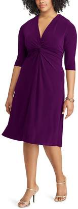 Chaps Plus Size Solid Knot-Front Empire Dress