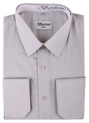 Berlioni Italy Men's Convertible Cuff Solid Dress Shirt -2XL (18-181⁄2) Sleeve 34/35
