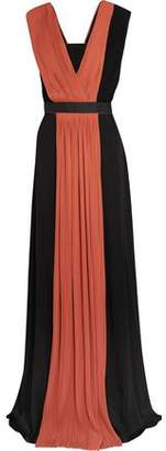 Vionnet Pleated Two-Tone Georgette Gown