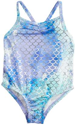 Baby Girl Penny M Foil Mermaid One-Piece Swimsuit