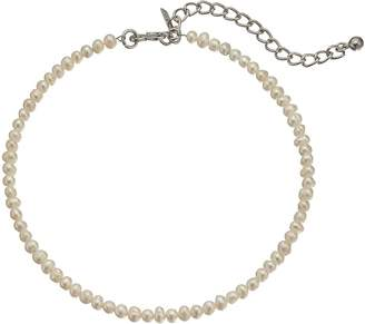 Kenneth Jay Lane White Freshwater Pearl Choker with Rhodium Clasp Necklace Necklace