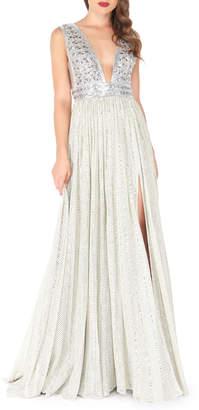Mac Duggal Beaded-Bodice Empire-Waist Gown