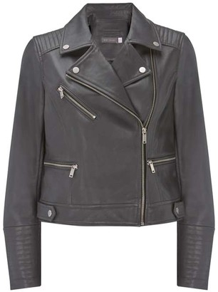Mint Velvet Grey Leather Biker Jacket