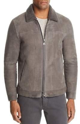 John Varvatos Collection Shearling-Trimmed Suede Jacket
