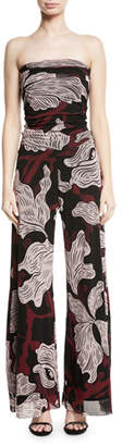 Fuzzi Strapless Vino-Print Tulle Jumpsuit