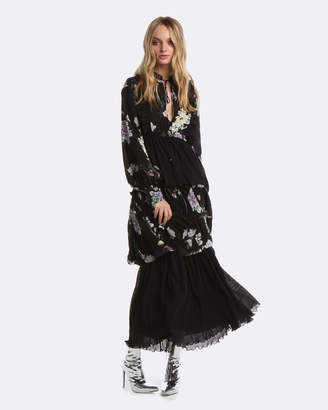 Coco Ribbon Black Chinoiserie Maxi Dress