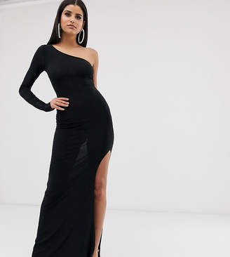 Club L London Tall one shoulder thigh split maxi dress in black