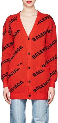 Balenciaga Women's Logo Virgin Wool Cardigan - Red