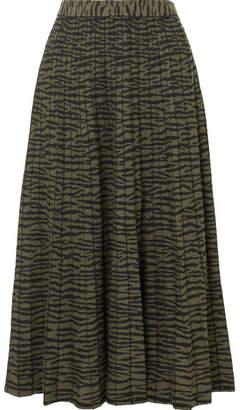 Proenza Schouler Pleated Jacquard-knit Midi Skirt - Zebra print