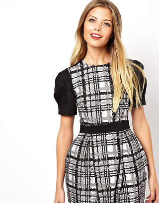 Asos Exclusive Check Jacquard Dress with Tulip Skirt