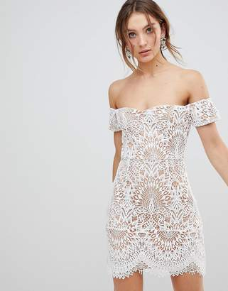 boohoo Lace Overlay Bardot Dress