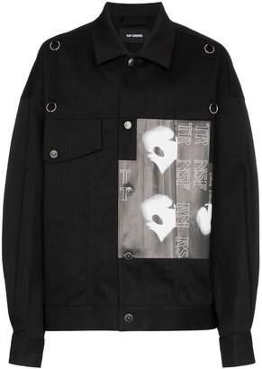 Raf Simons graphic print badge embellished denim jacket