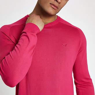 River Island Bright pink slim fit crew neck sweater