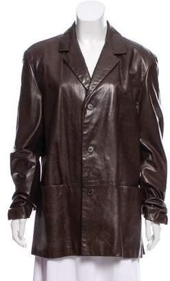 Calvin Klein Collection Leather Notch-Lapel Blazer