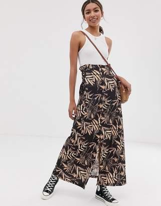 Asos Design DESIGN palm print maxi skirt with tie side waist