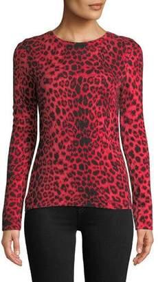 Neiman Marcus Leopard-Print Cashmere Pullover Sweater