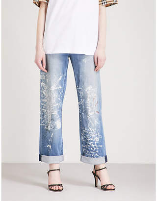 Burberry Graffiti straight high-rise jeans