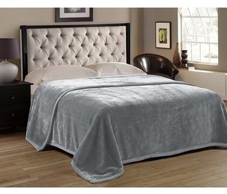 HIG Premium Heavy Blanket Grey Color with Double Layers Reversible Plush Raschel Blanket Solid Color - Supersoft, Warm, Silky, Hypoallergenic, Fade resistant in Queen Size