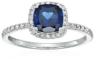 10k White Gold Created Sapphire and Diamond Cushion Engagement Ring (1/4cttw