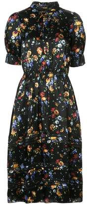 ADAM by Adam Lippes Black Floral Print Midi Shirt Dress