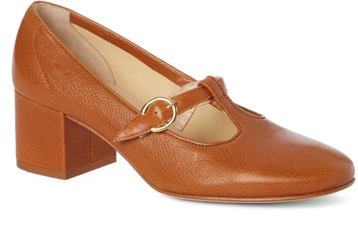 Amalfi By Rangoni Cognac Buckle-Accent Ticinese Leather Pump